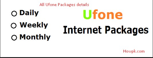 Ufone Mobile Internet Packages daily, weekly, Monthly [howpk.com]